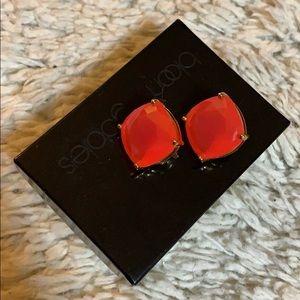 Kate Spade Pink Square Stud Clip On Earrings